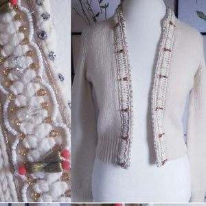 Lucky Brand 100% Wool Beaded Cardigan (M)